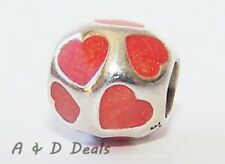 Pandora Genuine Sterling Silver Red Hearts Charm Red Enamel Hearts #790543EN17