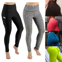 Women Sport Pocket Yoga Pants High Waist Legging Workout Anti Cellulite Trousers