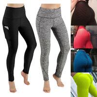 Women Sport Pocket Yoga Pants High Waist Legging Workout Anti Cellulite Trousers