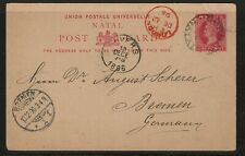 Natal Postcard Durban to Bremen via London Avers 21.11.1896 Queen Victoria