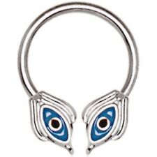 EGYPTIAN STYLE BLUE EYE STEEL HORSESHOE RING CIRCULAR BARBELL SEPTUM 16g 3/8""