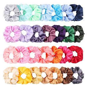 WATINC 28Pcs Silk Satin Hair Scrunchies Set Strong Elastic Hair Bobbles for Hair
