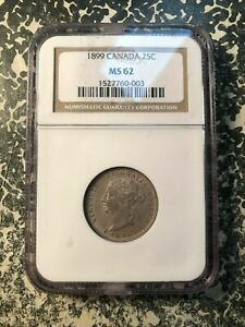 1899 Canada 25 Cents NGC MS62 Lot#G947 Silver! Nice UNC Example!