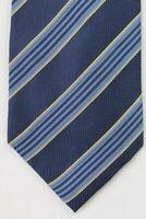 """Brioni 100% Silk Necktie Mens Luxury tie Blue stripes Italy 60"""""""
