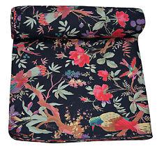 5 Yard Black Tropicana Bird Printed Cotton Indian Natural Sanganeri Print Fabric