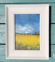 Original Kent Rape Field Framed Acrylic Painting Small Art Landscape 19x24cm