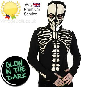 Gothic Glow in the Dark Skeleton Rib cage Halloween Mask Hoodie BANNED Apparel