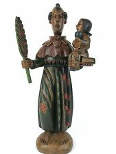 """16"""" Guatemalan Hand Carved Wooden St. Anthony of Padua W Baby Jesus Santo Statue"""
