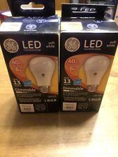 (2)GE LED Soft White Bulb 6 Watt 40 Watt Replacement Dimmable A19 480 Lumens NEW