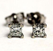 New 14k white gold .35ct SI2 H-I princess diamond stud earrings vintage estate