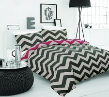 APARTMENTO WEBSTER CHEVRON Linen Black Red King Size Bed Doona Quilt Cover Set