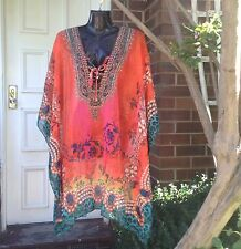 Caroline Morgan Kaftan Top Dress One Size Sheer Sparkle Flowing Blouse Resort