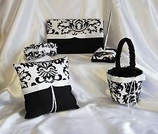 Wedding White Black Guest Book Pen Ring Pillow & Flower Basket Bow Sach Damask