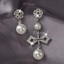 18k white gold clear crystal cross 925 silver stud pearl unbalanced earrings