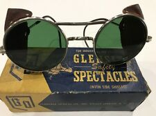 ANTIQUE GLENSITE MOTORCYCLE GOGGLES SAFETY GLASSES WITH BOX STEAMPUNK