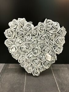 Mothers Day Grey Foam Roses Heart Wall Hanging Decoration