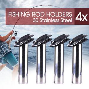 4x Fishing Rod Holders Stainless Steel Boat Flush Moun w/ Gasket Cap 30 Degree