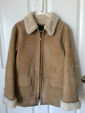 GALLERY Women's Genuine Suede Coat Faux Shearling Lined Jacket Tan Parka Small
