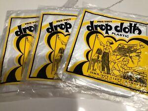 Pro Tech Plastic Drop Cloth - 9 feet x 12 feet (108 Square Feet) Lot of Three