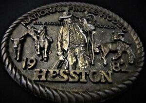 Vintage 1982 HESSTON National Finals Rodeo Brass Belt Buckle
