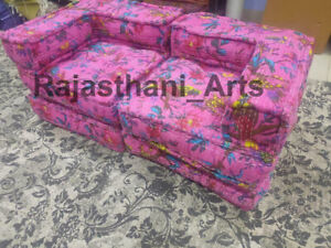 Pink Bird Print Design Kantha Floor Sofa Indian Ethnic Modular Sofa New Ottomans