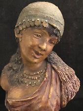 Ancien Buste Terre Cuite Orientaliste dans le Gout de Goldscheider Jeune Fille