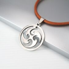 Japanese Shuriken Ninja Stainless Steel Pendant Brown Leather Mens Necklace