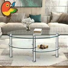 Tempered Glass Oval Side Coffee Table Shelf Chrome Base Living Room Clear
