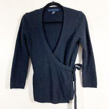 French Connection Size M Womens Black Angora Fuzzy Tie Waist Wrap V-Neck Sweater
