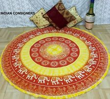 Wall Art Ombre Orange Elephant Mandala Cotton Queen Tapestry Roundies Hippie Art