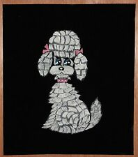 "Vintage Liquid Embroidered Girl Poodle Pink Bows Collar on Black 13 3/4"" x 16"""