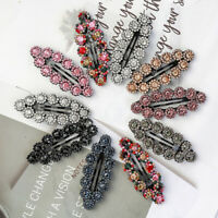 2PCS Ladies Hair Clips Circle Clips Crystal Snap Hairpin Slide Hair Accessories