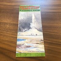 YELLOWSTONE NATIONAL PARK BROCHURE 1960s MAP RARE OLD VINTAGE