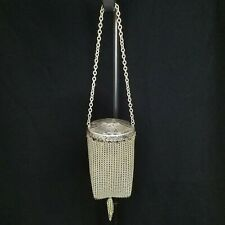 Antique Whiting & Davis Co. Victorian Silver Mesh Coin Purse - Round Shape