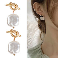 Gold Knot Geometric Irregular Natural Freshwater Pearl Long For Women Earrings