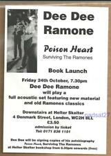 DEE DEE RAMONE Poison Heart 1997 Book Launch Flyer From London UK KBD Ramones
