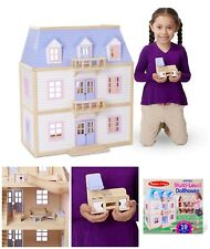 Wooden Multi Level Dollhouse Furniture Kids Toy 2 Feet Tall Hand Painted Sturdy