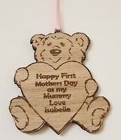 PERSONALISED FIRST MOTHERS DAY GIFTS MUMMY GIFT TEDDY WOODEN KEEPSAKE PLAQUE
