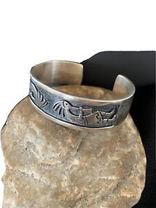 NWOT Mens Native American Navajo Sterling Silver Kokopelli Cuff Bracelet 01467