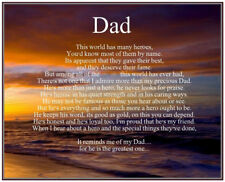 Personalised Dad Poem Birthday Christmas Fathers Day Gift Present