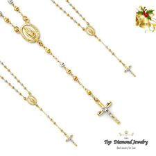 14K Solid Tri-color Gold 3mm Beads Our Lady of Guadalupe Rosary Necklace Rosario