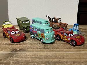 Disney Pixar Cars Lot Of 8 McQueen, Sarge, Fillmore, Mater, Luigi &Guido Plastic