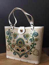 Jewel tone 1950s sac exquis seau style cabas avec boîte d'origine sequin