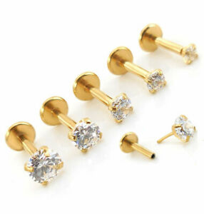 Push Pin ThreadLess Gold Tone Jewelry Nose Earring Tragus Helix Rings 18G 16G