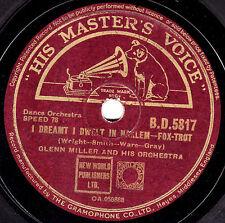 """1943 GLENN MILLER 78 """"SUN VALLEY JUMP /I DREAMT I DWELT IN HARLEM"""" HMV BD5817 E-"""