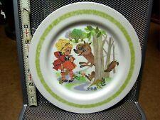 LITTLE RED RIDING HOOD fairy tale plastic kids set vtg 1970s Oneida plate & bowl