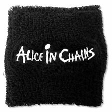 ALICE IN CHAINS - EMBROIDERED LOGO BLACK TERRYCLOTH WRISTBAND NEW OFFICIAL