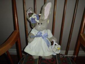 Bearington Bunny Easter Springtime Basket w Chick Yellow Dress Retired 17 Inch