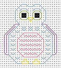 Beginners Blackwork Owl Counted Cross Stitch Kit Fat Cat 11 Count