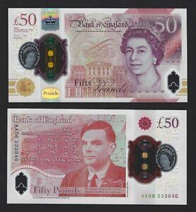 GREAT BRITAIN 50 Pounds 2020 (2021) England, P-397a, New UNC, AA 06 Prefix, QEII